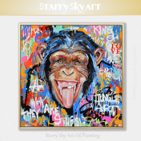 Street Style Artist Hand painted High Quality Street Pop Art Monkey Oil Painting on Canvas Funny Colorful Gorilla Oil Painting