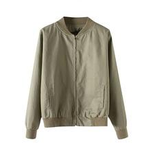 Осень полета армия зеленый Женщины Базовая куртка весна женские пальто одежда черный бомбер дамы молния куртки куртка-пилот