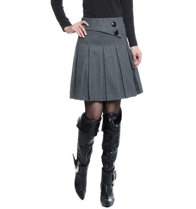 Теплые зимние юбки женские осенние размера плюс Пуговицы декоративные молнии закрытые серый черный цвет базовые плиссированные шерстяные юбки - Цвет: Gray Skirt