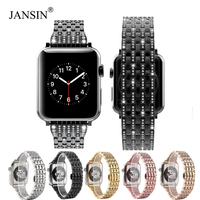 luxury Diamond Watch Band for Apple Watch 38mm/42mm/40mm/44mm Bracelet iWatch series 5 4 3 2 1 Stainless Steel Strap Wristband