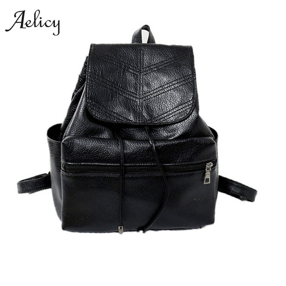 Aelicy New Women Backpack Vintage Leather Backpacks Drawstring Black Rucksack Brand Shoulder Bags For Teenage Girls School BagAelicy New Women Backpack Vintage Leather Backpacks Drawstring Black Rucksack Brand Shoulder Bags For Teenage Girls School Bag