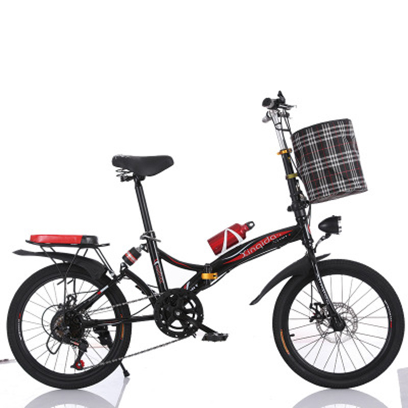 Folding Bicycle 20-Inch Three-Knife Shock Absorber Speed Change Disc Brake Men And Women Ultra-Light Student Portable Bicycle