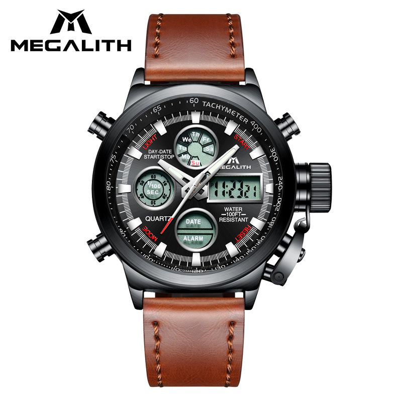MEGALITH LED Digital Watch Men Military Sport Watch Brown Genuine Leather Quartz Watch Clock Waterproof Multifunction Wristwatch стоимость