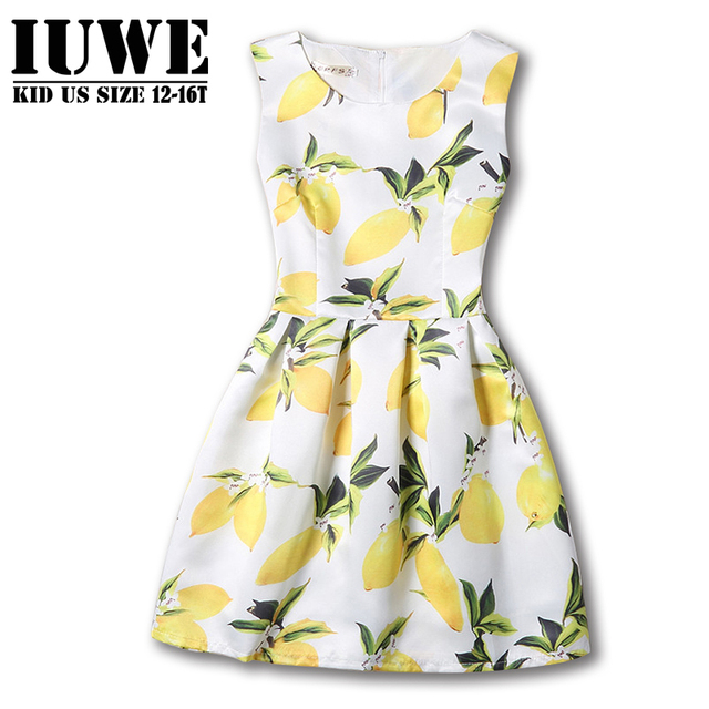 Girls Dresses Summer 2017 Kids Dresses For Girls Of 12-16 Years Sleeveless Yellow Printed Teenager Girls Dress Robe Fille Enfant