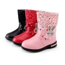 Новая зимняя детская обувь новорожденных девочек обувь pu кожаные ботинки снега зимой теплый slippoof и непромокаемую обувь 1065