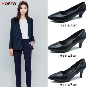 HQFZO 3/5/7cm Sandalet Womens High Heels Sandals Pumps Pointed Toe PU Leather Office Woman Shoes Solid Shallow Party Shoes