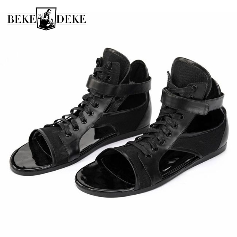 High Quality Leather Sandals Men Personalized Black Lace Up Outdoor Gladiator Sandals Brand Sneakers Summer Beach Shoes Hombre-in Men's Sandals from Shoes    1