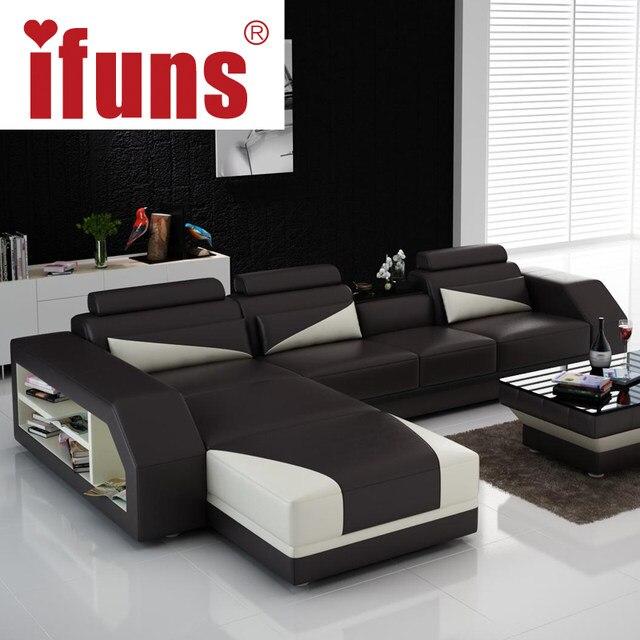 IFUNS Custom Made Classic Italian Leather Sofa,L Shaped Designs Heated Seat  Corner Sofa White Genuine Leather Living