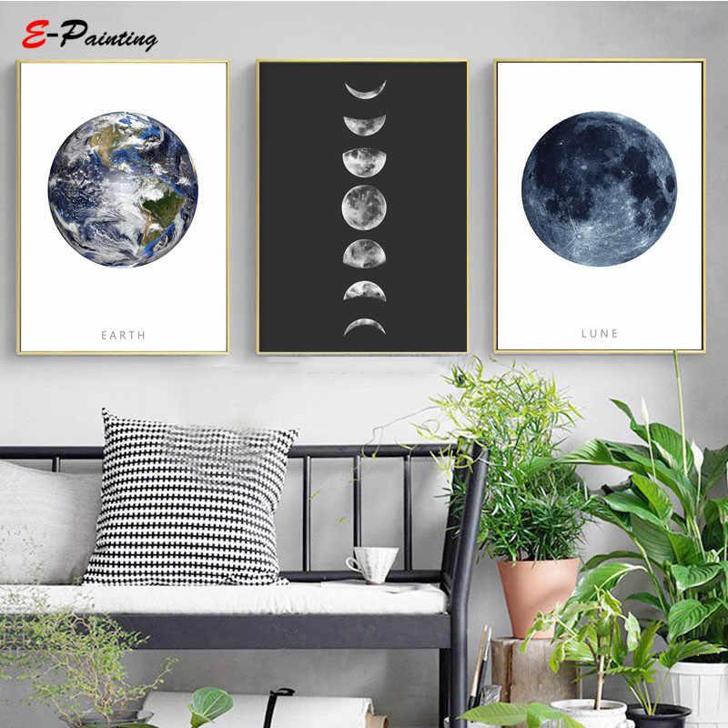 Hitam dan Putih Moon Phase Kanvas Lukisan Dinding Seni Poster Hadiah untuk Astronomi Kekasih Modern Ruang Tamu Dekorasi Gambar