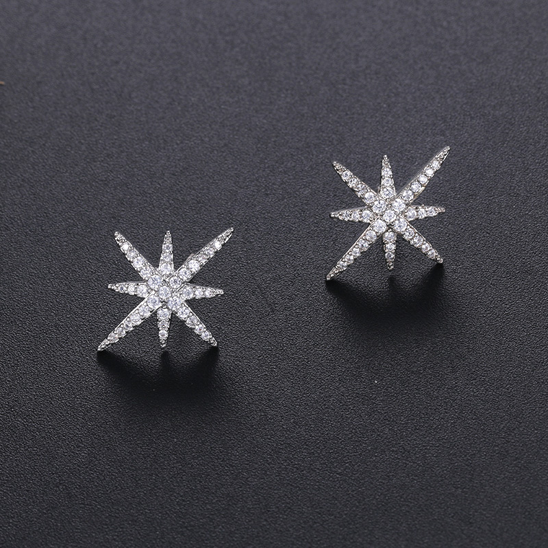WEIMANJINGDIAN AAA Cubic Zirconia CZ Crystal Starburst Stud Earrings for Women in White Gold Color