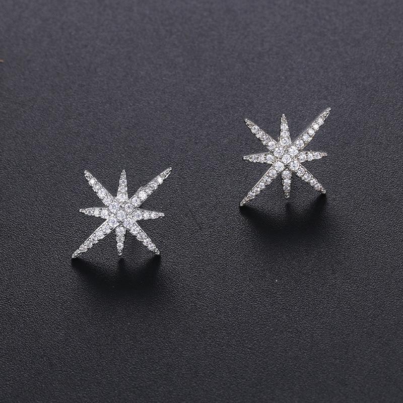 WEIMANJINGDIAN AAA Cubic Zirconia CZ Crystal Starburst Stud Earrings for Women in White Gold Color