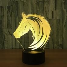 Новая Лошадь 3D ночник креативный 3 D лампа визуальное освещение для украшения комнаты рождественский подарок, новинка для малышей