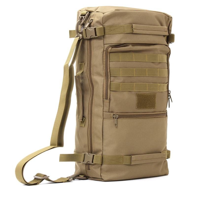50L Pelbagai fungsi Kanvas Sukan luar Taktikal Ransel Taktikal perjalanan Camping Hiking Backpack memanjat beg bahu Bag