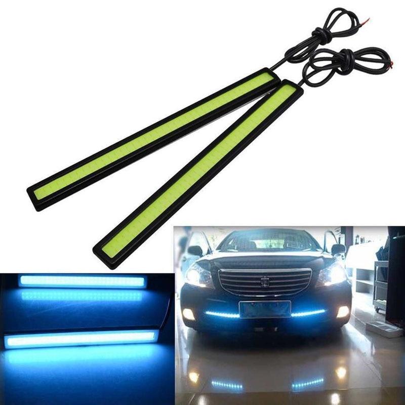 Pair 12V Blue LED COB Car DRL Daytime Running Light Fog Driving Lamp Waterproof