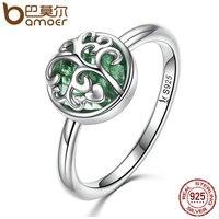 BAMOER Real 925 Sterling Silver Tree Of Life Finger Ring Crystal Leaf Rings For Women Sterling