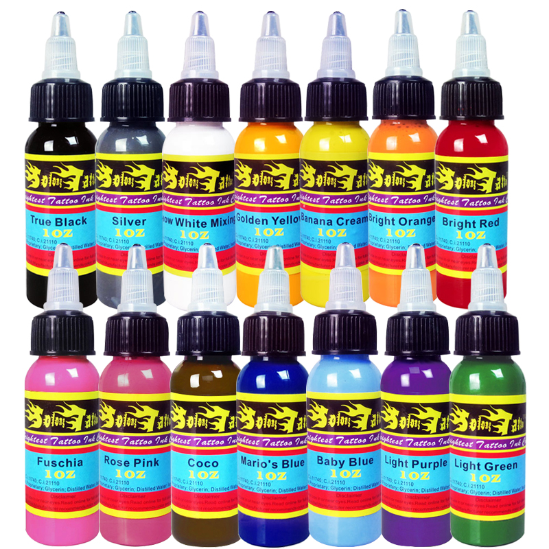 Solong Tattoo Wholesale - New Solong Tattoo Ink 14 Colors Set 1oz 30ml/Bottle Tattoo Pigment Kit TI301-30-14 wholesale high quality 30ml professional tattoo ink 14 colors set 1oz 30ml bottle tattoo pigment kit fashion makeup cosmetics