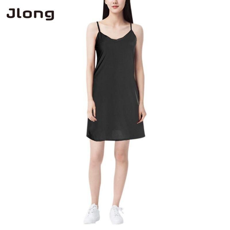 Women Casual Solid Spaghetti Short Dress Smooth Sleeveless Dress Slips Mini Dress