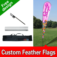 11ft x 3.3ft Grand Opening Teardrop Flag Set Feather Banner Flag INCLUDES 15ft POLE KIT AND HARDWARE LIMITED TIME OFFER