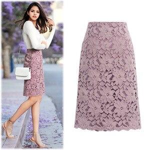 Image 4 - 2020 Fashion Lace Women Skirt Large Size Elastic Waist A line Slim Female Skirts Plus Size Skirts