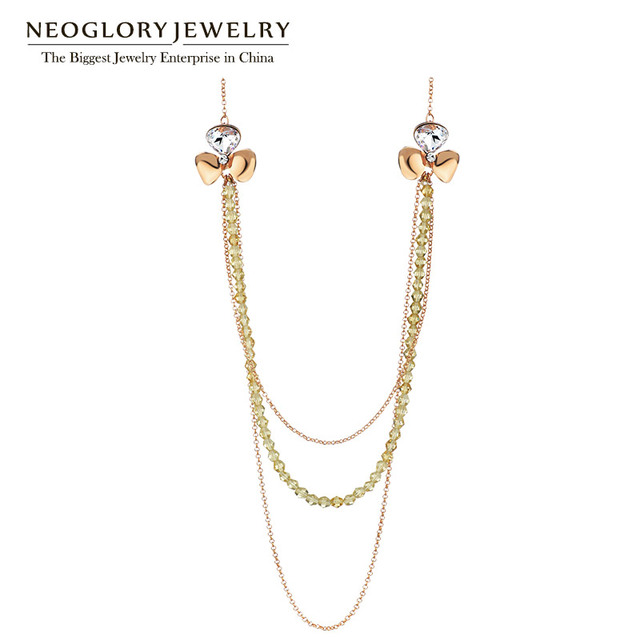 Neoglory Austria Crystal Rhinestone Rose Gold Plated Multilayer Long Necklaces for Women Fashion 2017 New 85+6cm