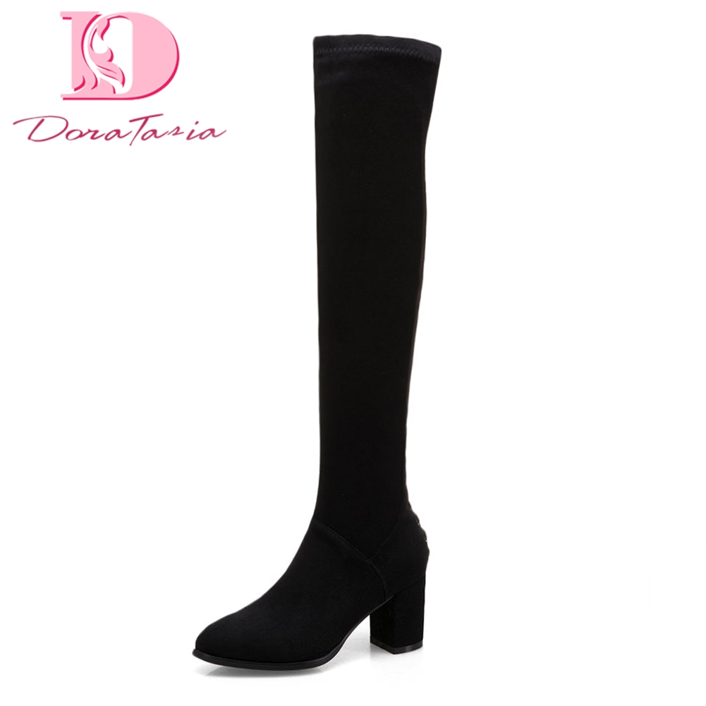 Doratasia Brand new drosphip Large Size 34-43 Zip Up Winter Boots Woman Shoes Solid Chunky Heels Over The Knee Boots Shoes Woman цена