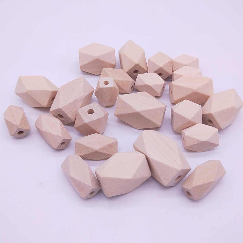 Tidak Rata Geometris Poligon Panjang Manik-manik Kayu Warna Alami Ramah Lingkungan Besar Manik-manik Kayu DIY Kerajinan Perhiasan Aksesoris