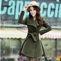 Осень Зима Длинные Шерстяные Пальто 2016 Корейский Однобортный Шарф Воротник Тонкий A731
