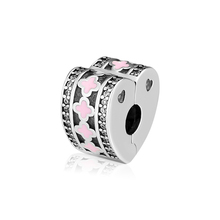 Fits Pandora Bracelets Genuine 925 Sterling Silver Sparkling Arcs Of Love Clip Charm Beads for Jewelry Making kralen