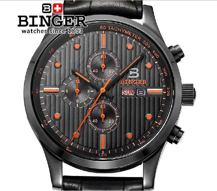 Switzerland Men's watch luxury brand Wristwatches BINGER Quartz men watches leather strap steel 100M waterproof clock BG-0402-2
