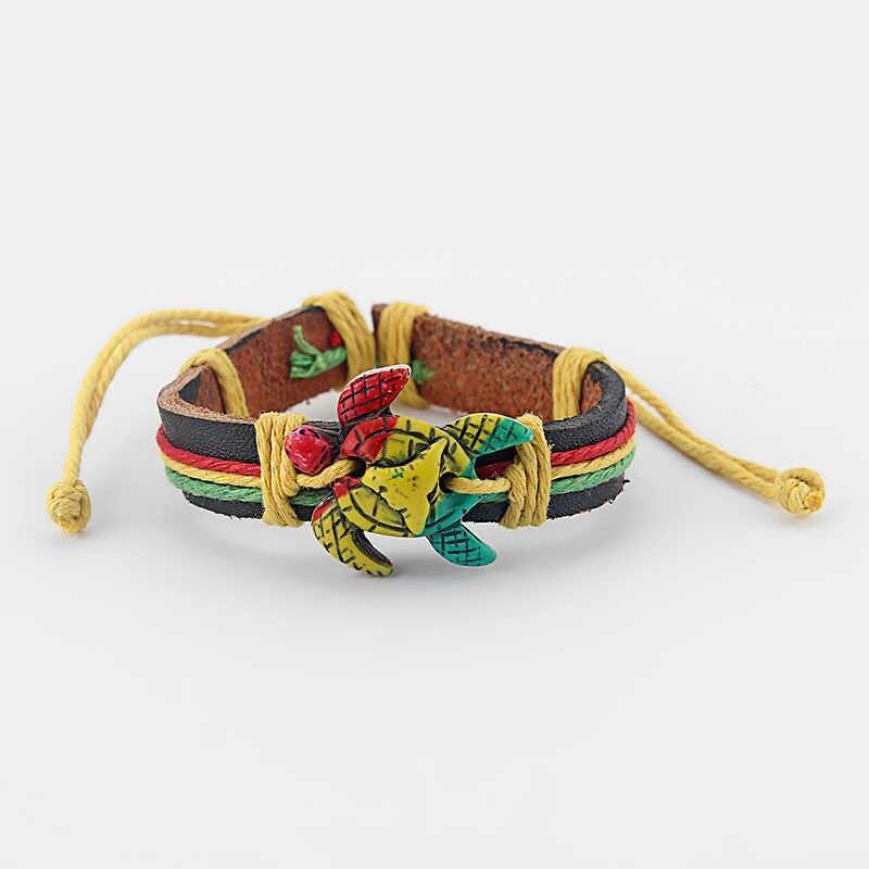 1 個亀ホワイト/ブラウン/ラスタ部族海サーファーチャーム亀の革ブレスレットサーフバングル