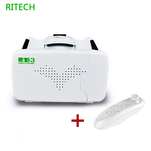 RITECH III Head Mount VR Virtual Reality 3D Glasses Google Cardboard for 3.5-6 Smartphone With AR +Bluetooth Controller