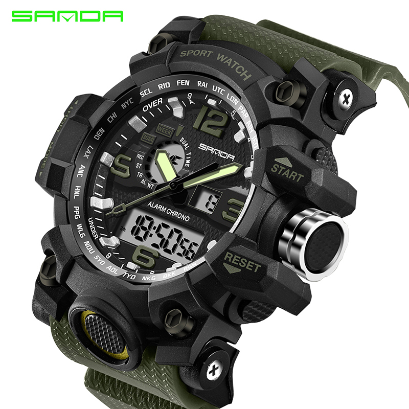 купить Top Brand SANDA Military G Style Shock Men Watch Digital New Electronic Sport Watch Waterproof Male Clock LED Relogio Masculino недорого