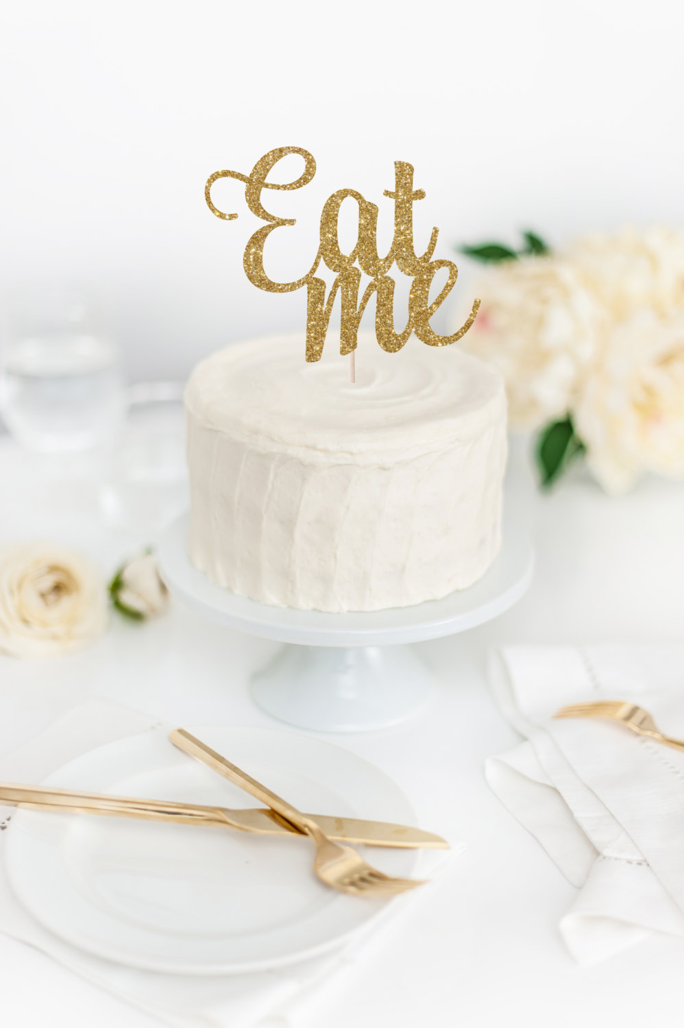 Eat Me Gold Glitter Cake Topper Funny Cake Topper Birthday Party Decoration Glitter Party Props Supplies Alice Cake Topper