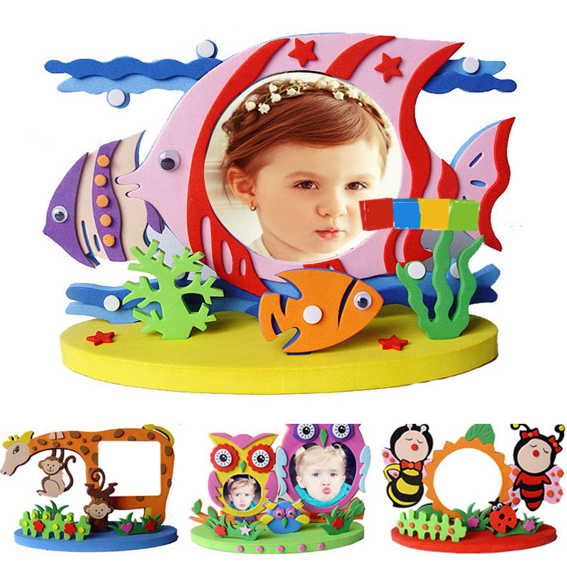 Kids DIY EVA Photo Frame Craft Kits Preschool Baby Creative Educational Toys For Children Owl Dinosaur Fish