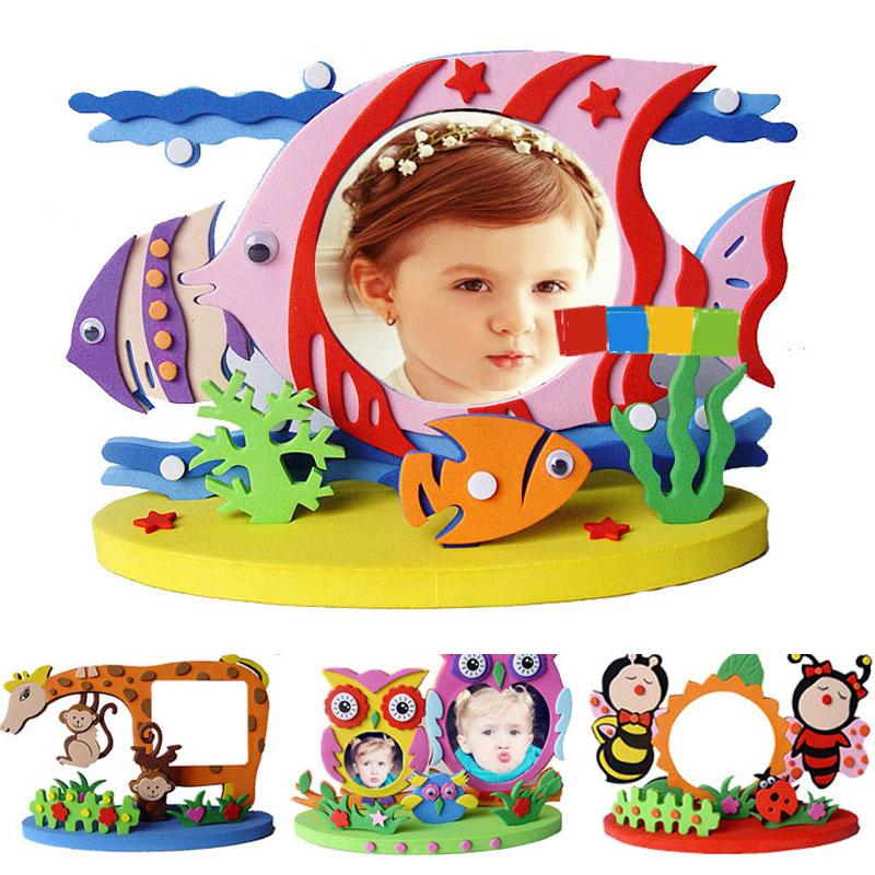 Kids DIY EVA Photo Frame Craft Kits Preschool Baby Creative Educational Toys For Children Owl Dinosaur Fish