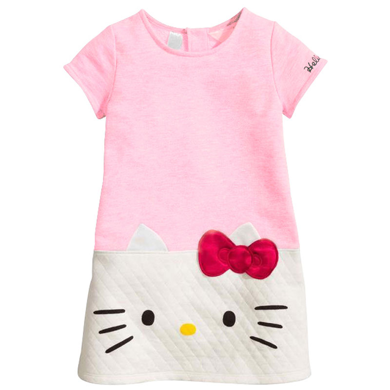 New year girl dress hello kitty dress for girl patchwork pink gray bow christmas dress cotton