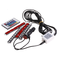 9LED Control remoto colorido RGB coche Interior suelo atmósfera tira de luz