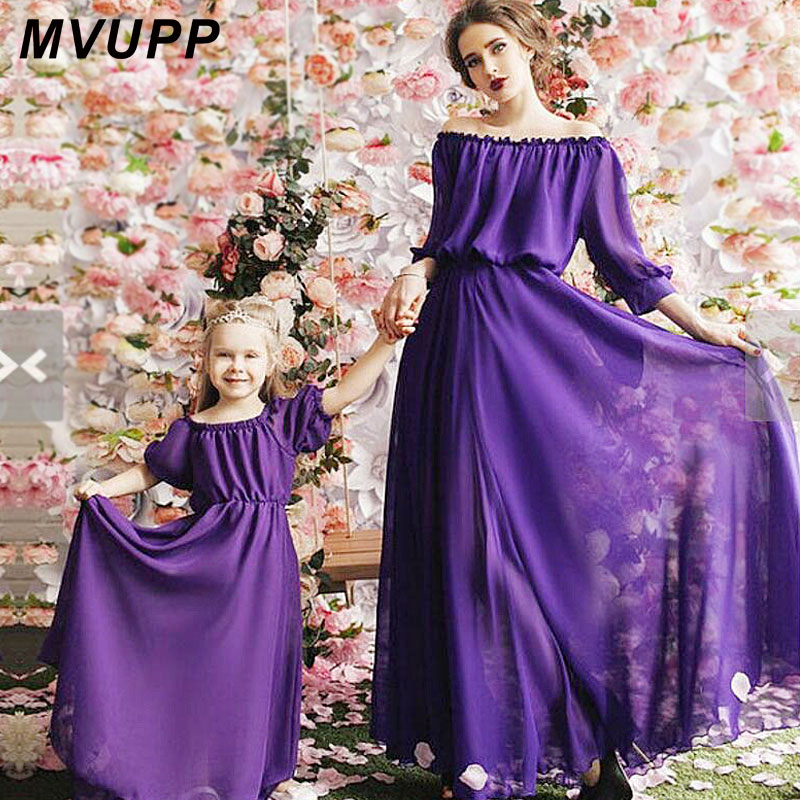 MVUPP Mama Mother Daughter Dress 2017 Summer girls Beach clothing flower Print Bohemia Style for Mom Family Matching