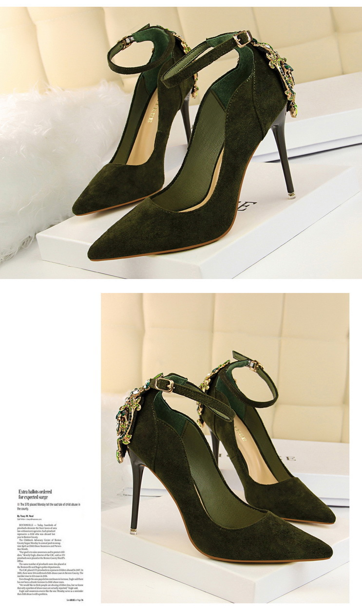 POADISFOO Women Elegant Crystal Pumps sexy thin shoes super high suede shallow mouth pointed rhinestone single shoe.DS-1717-5 10