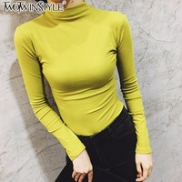 TWOTWINSTYLE Turtlenack Long Sleeve T Shirts Women Slim Skinny Pullover Tee Shirts Tops Female White Casual