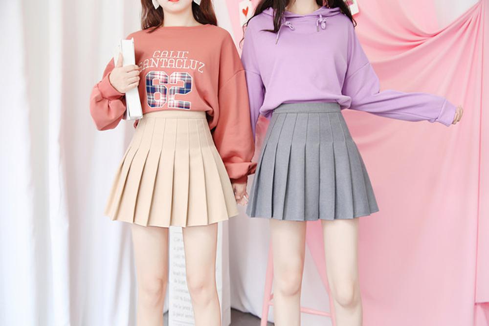 New High Waist A Line pleated skirts Harajuku Lolita Gray White Black a-line sailor skirt Cosplay Japanese school Skirts uniform 8