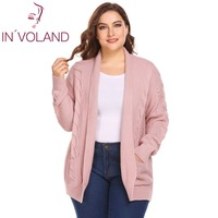 IN'VOLAND Women Cardigan Tops Plus Size XL 5XL Spring Autumn Loose Open Front Casual Cable Large Knit Sweater Pocket Plus Size