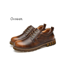 Ovxuan Handmade Genuine Cow Leather Vintage Men Martin Shoes Tooling Casual Shoes Luxury Waterproof Work Leisure Shoes