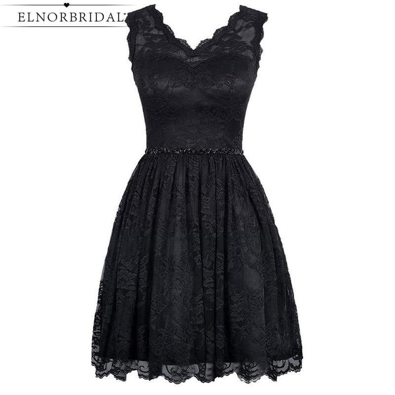 Short Black Lace Prom Dresses 2017 V Neck Vestido De Festa Imported Party Cocktail Dress Little Black Evening Gowns