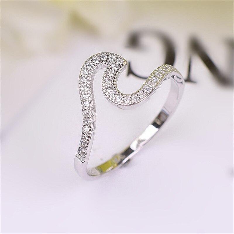 Mode 100% 925 argent Sterling vague irrégulière Simple anneaux charme bijoux accessoire Valentine cadeau bague argent 925 femme fille