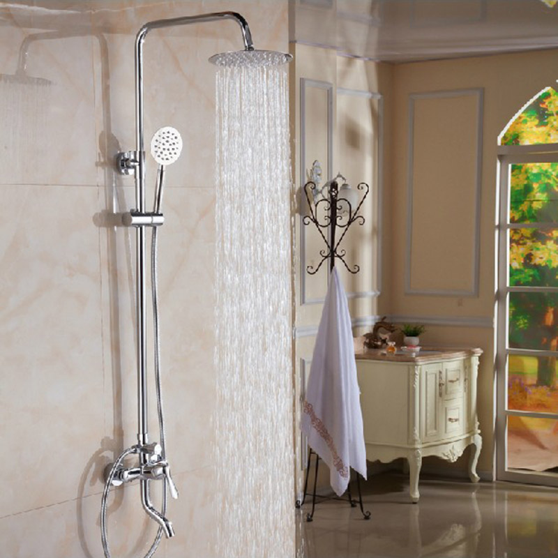 Luxury Modern Chrome Finished Rain Shower Set Faucet Brass Material Chrome Mixer Tap Wall Mounted poiqihy chrome rain