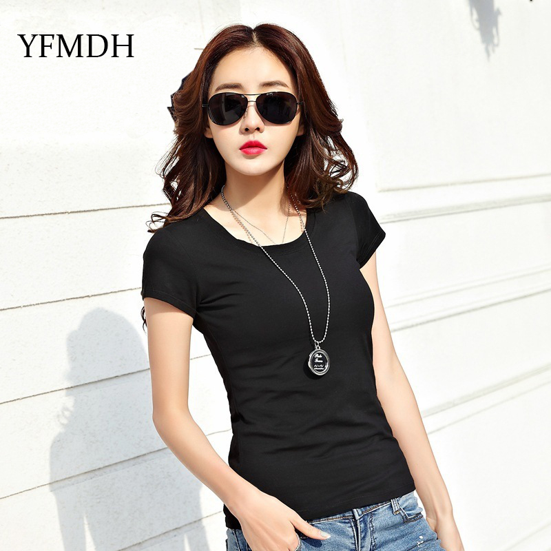Casual O Neck Tee Woman Summer Black Solid Tops 2018 New -3830