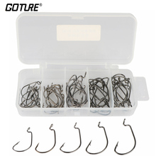 Goture 50pcs/box Fishing Hook Offset Worm Hook Sea Fishhook 2# 1# 1/0# 2/0# 3/0# Fishing Accessories With Fishing Tackle Box