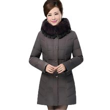 Middle Aged Women Winter Cotton Padded Jacket Fur Collar Thick Warm Down Parkas Hooded Slim Long Sections Outerwear Coats PW0733