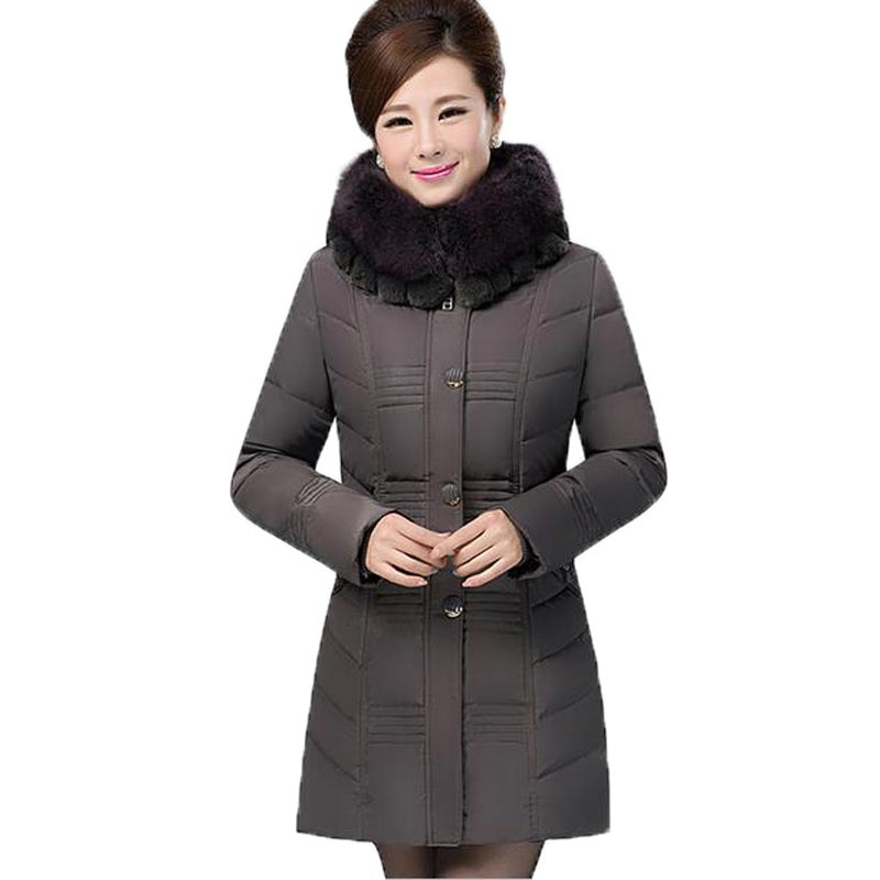 Middle Aged Women Winter Cotton Padded Jacket Fur Collar Thick Warm Parkas Hooded Slim Long Sections Outerwear Coats PW0733 winter women medium long middle aged fur collar hooded parkas thick warm plus size coat cotton padded chaquetas mujer tt3058